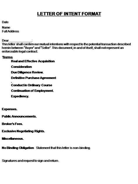 Letter Of Intent Format For A Find Our What Letter Of Intent Format To Use Letter Of Intent