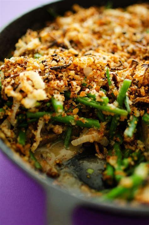 vegan green bean casserole  panfried onions