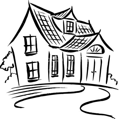 drawing cartoon houses black and white house drawing clipart best