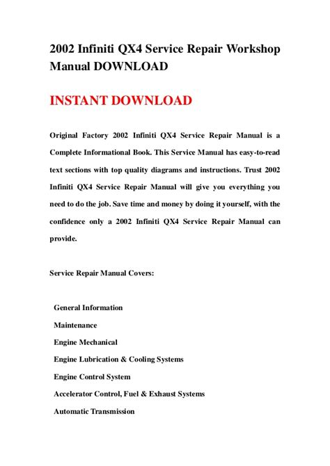 how to download repair manuals 2003 infiniti qx electronic toll collection 2002 infiniti qx4 service repair workshop manual download