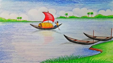 how to draw a scenery boat in river how to draw scenery of river step by step very easy