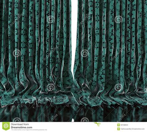 old curtains vintage floral curtains background stock illustration