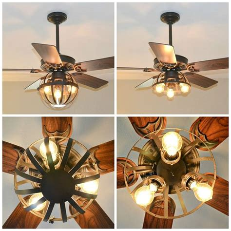 Diy Ceiling Fan Light Diy Industrial Ceiling Fan With Garden Planter Cage Lights Gardens Industrial And