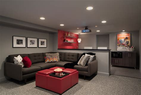 excellent red accents wall paint of home basement bar ideas with oak washington project modern basement other by haddad