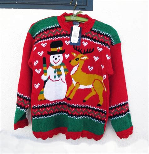 tacky christmas sweater snowman reindeer acrylic womens xs