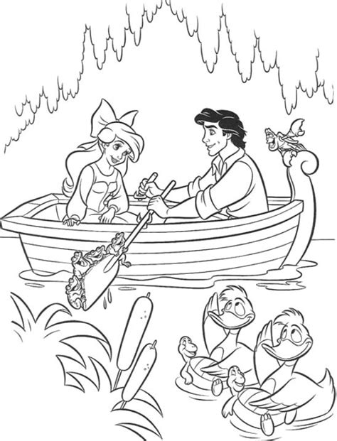 Romantic Date From Eric To Ariel Coloring Page Princess Princess Ariel And Eric Coloring Pages Printable