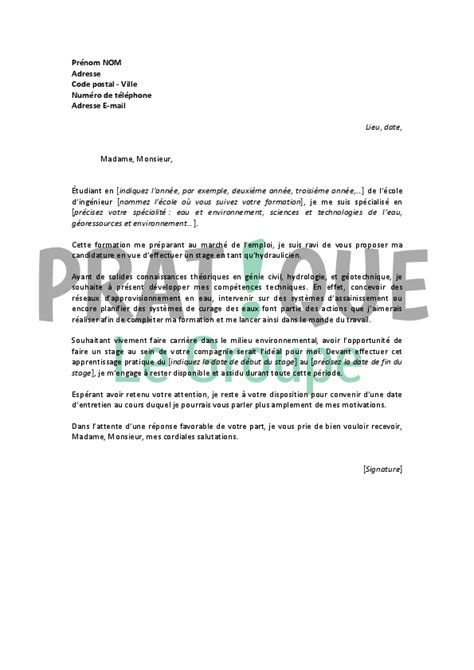 Lettre De Motivation Apb Genie Civil Lettre De Motivation Pour Un Stage D Hydraulicien Pratique Fr