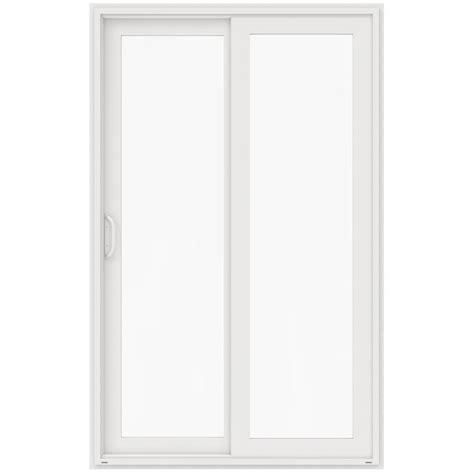 96 Sliding Patio Door Jeld Wen 60 In X 96 In V 4500 White Prehung Left Sliding 1 Lite Vinyl Patio Door