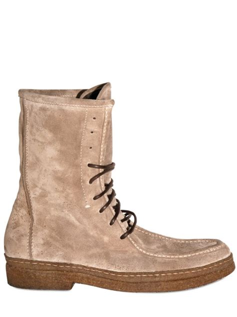 henderson suede lace up low boots in beige for lyst