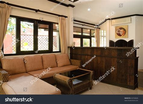 Living Room Hotel Style Thai Style Living Room In Hotel Apartment Stock Photo