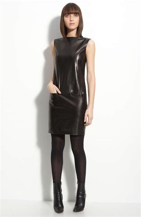 vince leather boat neck dress  black lyst