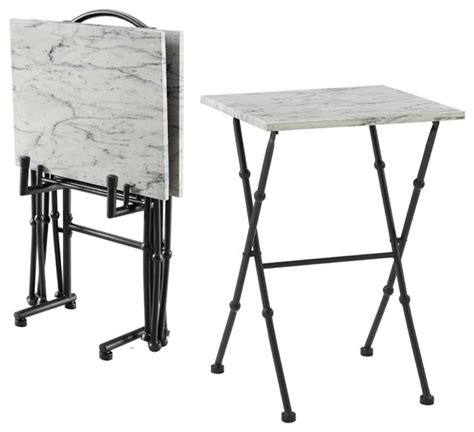 Folding Tray Table Set Kildare Four Marble Tray Table Set Transitional Tv Trays Folding Snack Tables Shelby