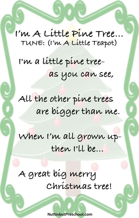 im a little pine tree christmas song nuttin but preschool