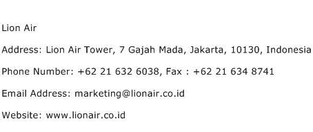 email lion air lion air address contact number of lion air