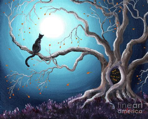 Cat Akrilik Spray black cat in a haunted tree painting by iverson
