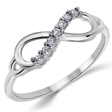 14k solid white gold cz cubic zirconia infinity ring band