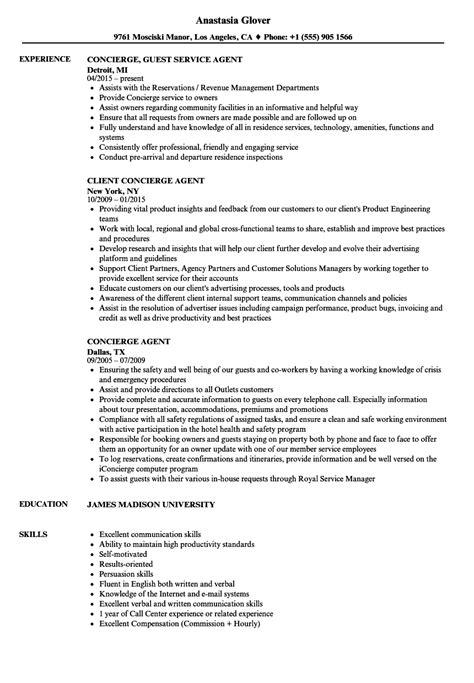 Concierge Agent Resume Sles Velvet Jobs Concierge Resume Template