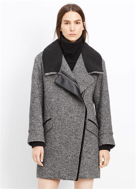 Shawl Collar Coat lyst vince shawl collar asymmetric coat in black