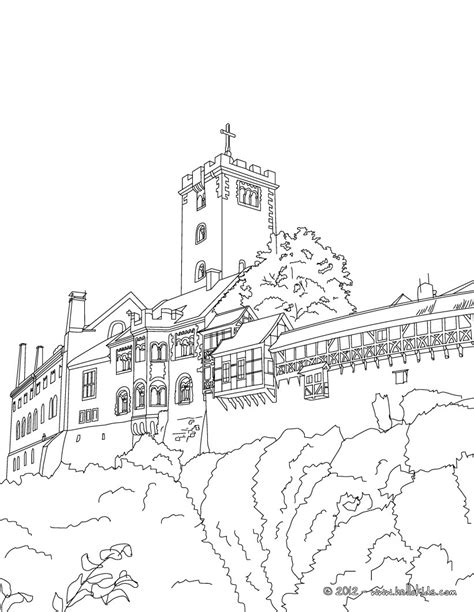 Wartburg Castle Coloring Pages Hellokids Com Germany Coloring Page