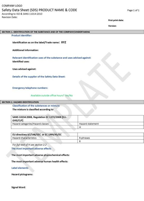 sds template chemical risk assessments ghs safety and