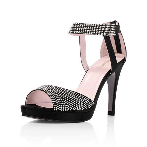 high heel sandals rhinestones open toes black wedding prom