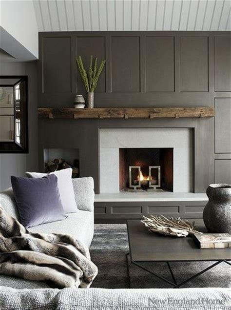 slate grey wainscot reclaimed wood mantle offset log