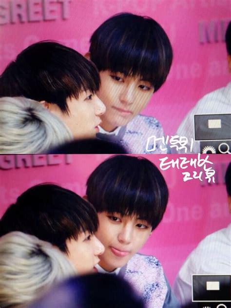 bts kiss v being tempted to jungkook s lips o nah kidding hahaha