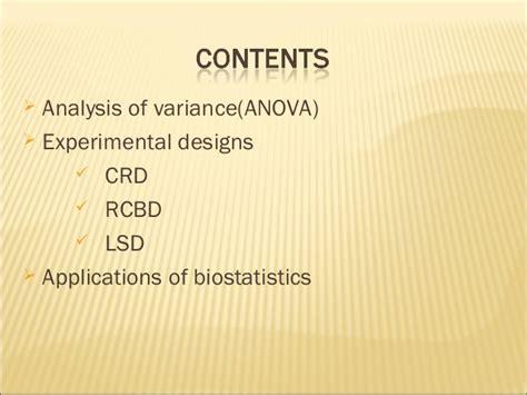 experimental design on biostatistics anova experimental designs