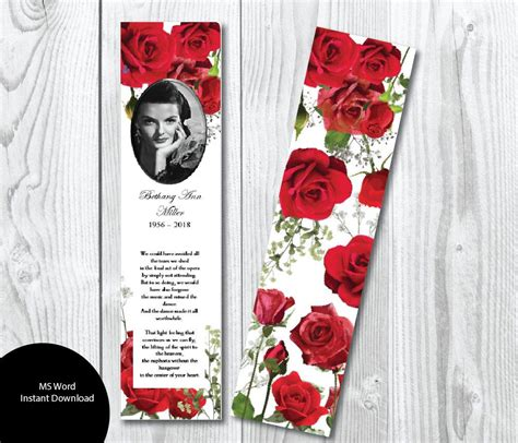 free memorial bookmark template roses funeral bookmark template memorial bookmark