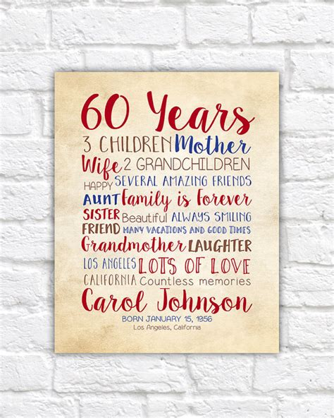 60th birthday presents birthday card gifts for mums 60th birthday gift ftempo