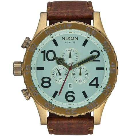 Cat Chrono Brown Leather Kw nixon 51 30 chrono leather brown brass green