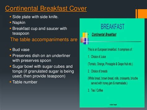 cover layout of continental breakfast types of meals and cover slide