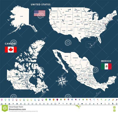 map de mexico y usa mapas de canad 225 estados unidos y m 233 xico con las banderas