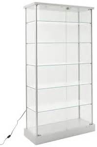 Glass Display Cabinets With Led Lights Glass Display Cabinet 4 Casters 2 Led Lights