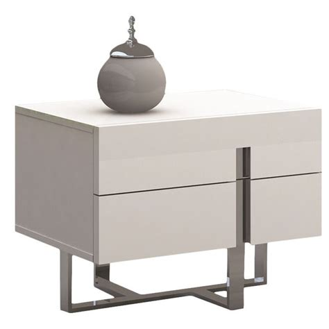 high nightstand collins collection high gloss white lacquer nightstand