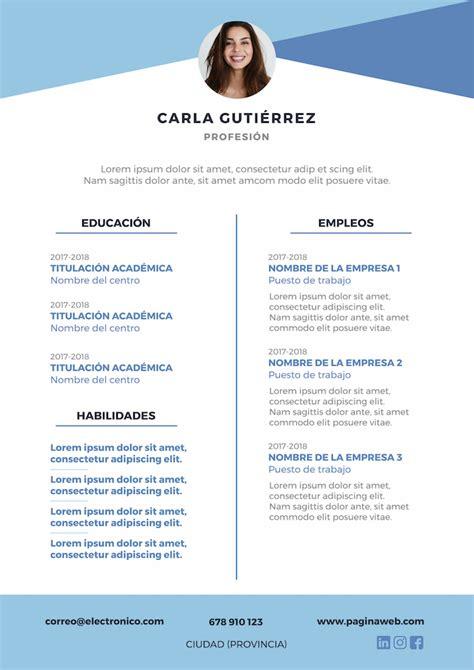 Plantilla Curriculum De Trabajo Gratis 5 plantillas de curr 237 culum para descargar gratis infojobs