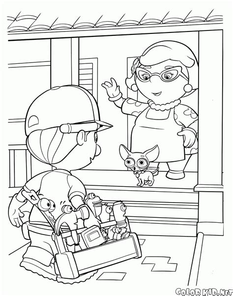 coloring page mannys tools party