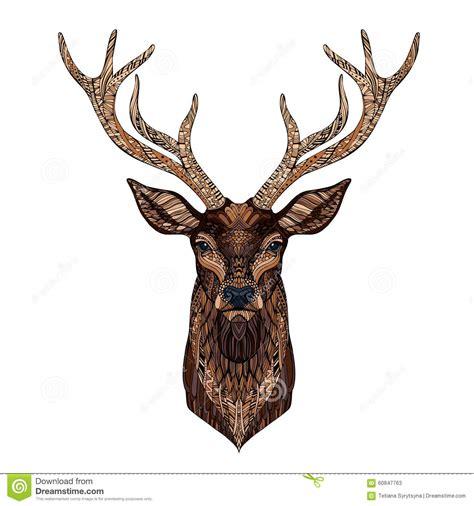 Zentangle Design deer head stylized in zentangle style stock vector