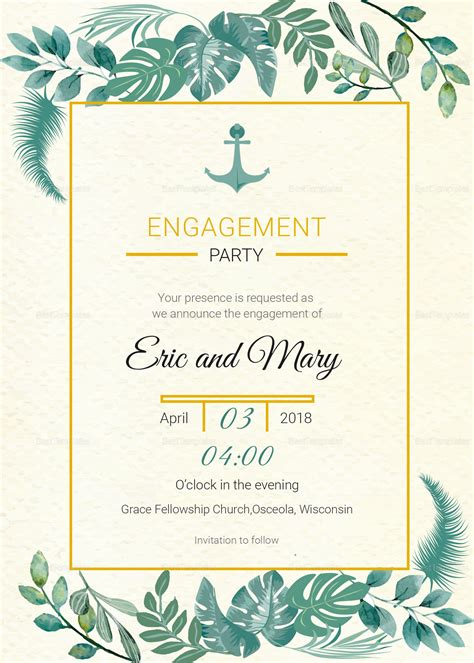 Wedding Announcement Templates For Word by Nautical Engagement Announcement Card Template In Psd