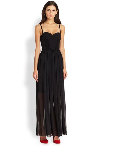 Syakira Maxi 1 shakira semisheer bustier maxi dress in black lyst