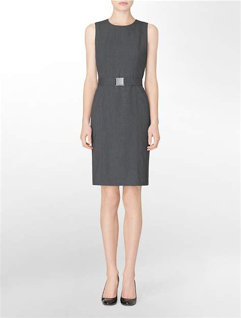 calvin klein womens sleeveless belted charcoal dress ebay