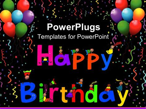 Powerpoint Template Kids Climbing Happy Birthday Letters With Colorful Balloons 15645 Happy Birthday Ppt Template