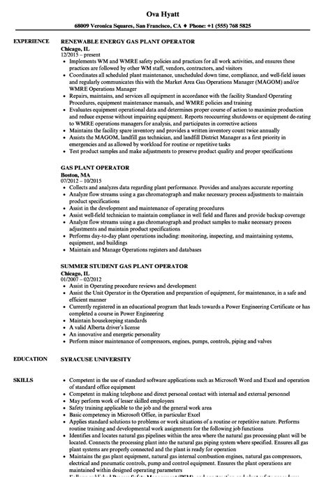 gas plant operator resume exle contemporary