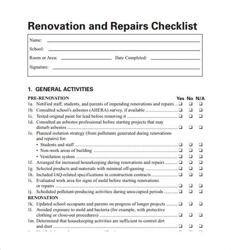 10 Renovation Checklist Templates To Download Sle Templates Remodel Checklist Template