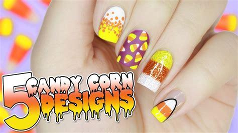 halloween nail art tutorial youtube 5 easy candy corn nail designs for halloween halloween