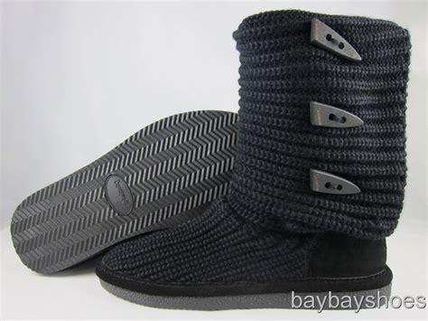 bearpaw knit boots black bearpaw knit 14 quot boot black foldable fabric sheepskin