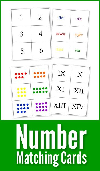 printable number matching cards printable number matching cards