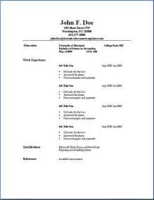 simple sample resume template idea