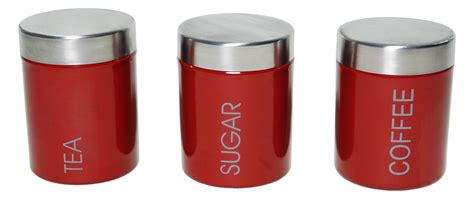 Stainless Steel Canister Sets Kitchen by 3 Pcs Tea Coffee Amp Sugar Canister Set Red 4513