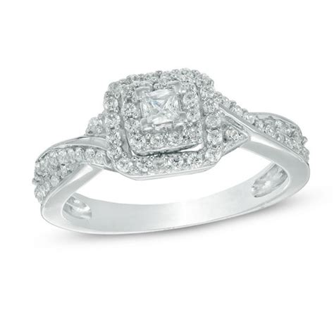 1 3 ct t w princess cut frame engagement ring in